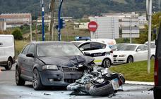 Un motorista herido tras colisionar contra un turismo en Portugalete