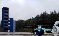 Evacuado en helicóptero un trabajador herido tras ser golpeado por un pino en Mañaria