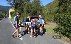Dos ciclistas resultan heridos al caerles una rama de un árbol en Alonsotegi