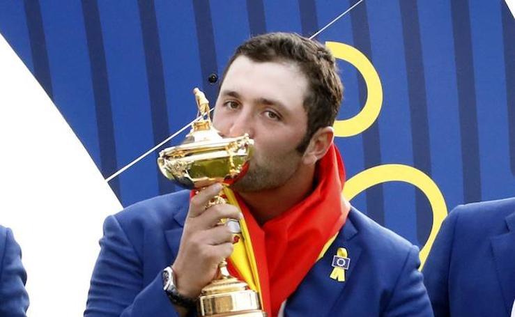 La felicidad de Rahm tras ganar la Ryder Cup