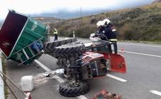 Herido leve tras volcar su tractor en Rioja Alavesa
