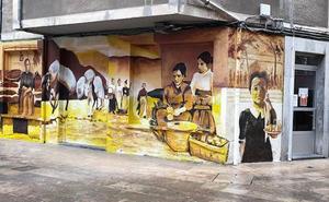Un mural a color recupera la historia y embellece Iurreta