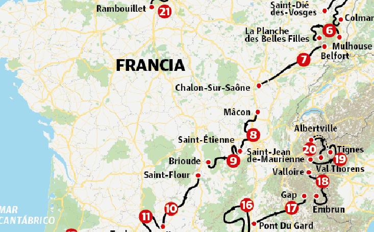 Las etapas del Tour de 2019