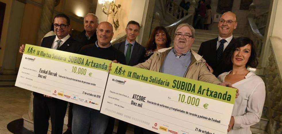 EL CORREO entrega los cheques de 10.000 euros de la Subida a Artxanda