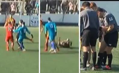 Salvaje patada del portero del Manlleu a un árbitro tras anularle un gol