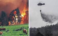 El fuego sigue activo en 60 enclaves de Cantabria y Asturias