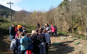 Un centenar de escolares planta árboles en Gordexola