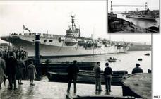 Así era el primer portaaviones que amarraba en el Puerto de Bilbao
