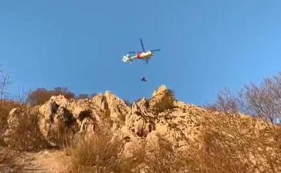 Evacuado en helicóptero un escalador accidentado en Asparrena