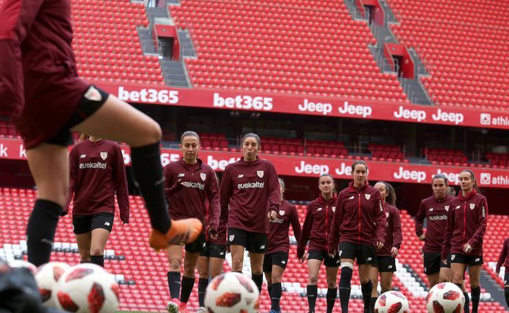 El entrenamiento del Athletic femenino previo al partido contra el Levante en San Mamés