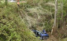 Un herido al caer con su coche por un terraplén en Mungia