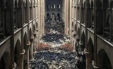 Así ha quedado el interior de la catedral de Notre Dame