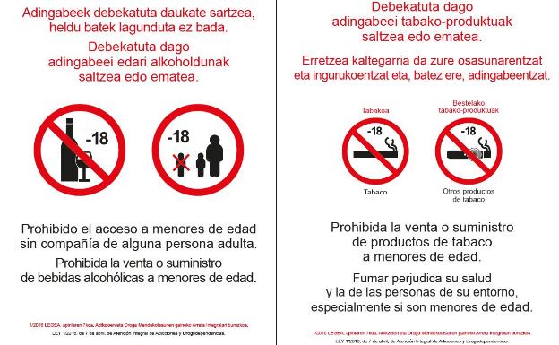 Así son los carteles que prohibirán el consumo de alcohol y el acceso de menores en los bares en Euskadi