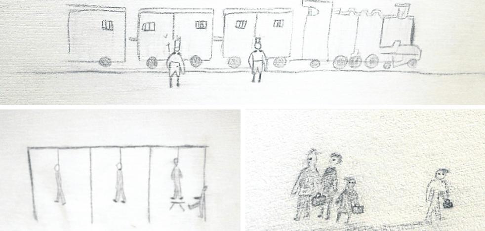 Dibujos inéditos de niños de Auschwitz, en Bizkaia