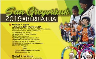 Programa de fiestas de San Gregorio 2019 en Berriatua: San Gregorixuk