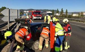 Tres accidentes en hora y media provocan retenciones en la A-1, cerca de Vitoria
