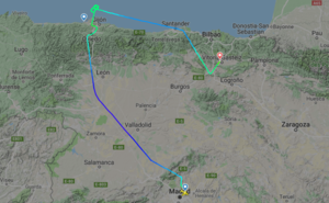 Un avión con problemas técnicos aterriza en Foronda tras intentarlo dos veces en Asturias