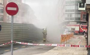 Cortan dos calles de Algorta por una espectacular fuga de gas en el parking Manuel Gainza
