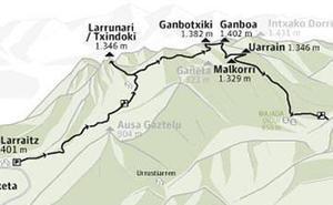 Ganboa (1.413 m.), Ganbotxiki (1.377 m.), Uarrain (1.344 m.) y Larrunarri - Txindoki (1.342 m.)