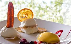 Mousse de yogourt griego sobre hojas de frutas con su helado de mango