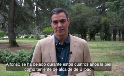 Pedro Sánchez pide en un vídeo el voto para Gil por «dejarse la piel» en transformar Bilbao