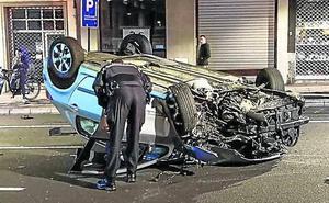 Espectacular accidente en la calle Paz