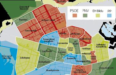 El PNV y el PSE ganaron en ocho barrios de Vitoria, EH Bildu en seis y el PP en cuatro