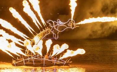 Un dragón de fuego paseará por la ría en la Noche Blanca bilbaína