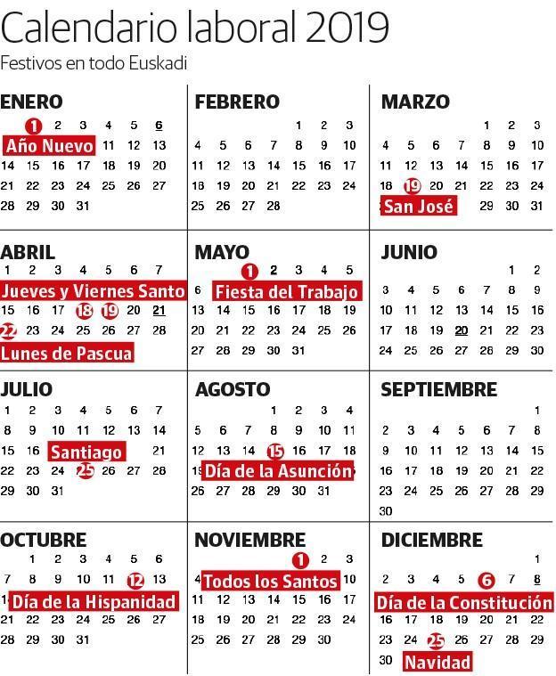 Calendario 18.Calendario Laboral De Bizkaia 2019 Festivos Y Puentes El Correo