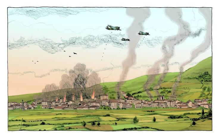 El bombardeo, en viñetas