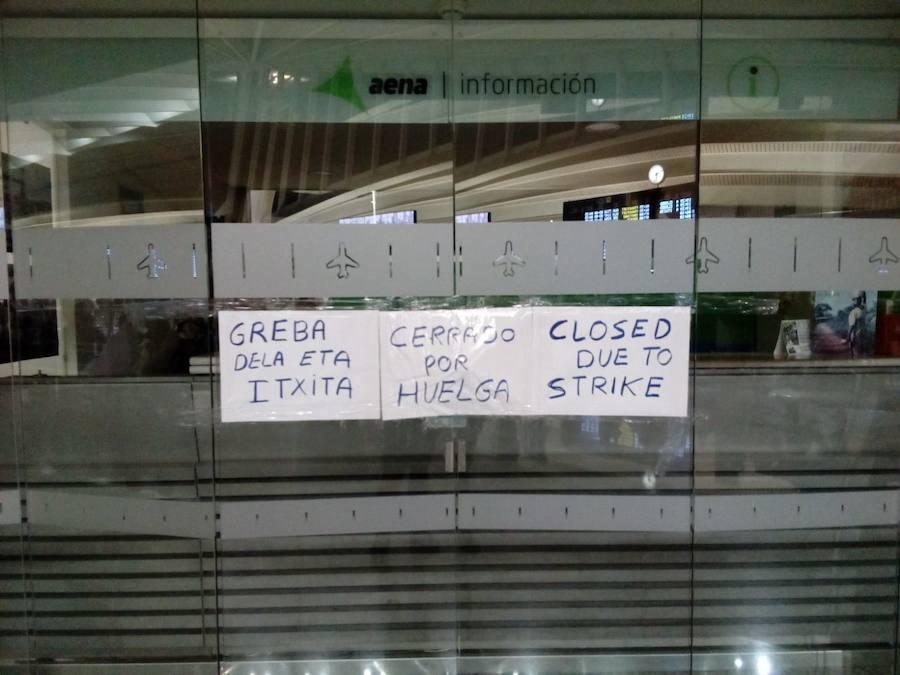 Primera jornada de huelga en el aeropuerto de Loiu