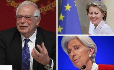 Los perfiles de Borrell, Von der Leyen y Lagarde