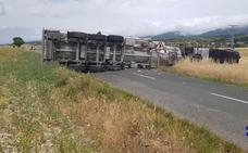 El vuelco de un camión de leche corta una carretera en Asparrena