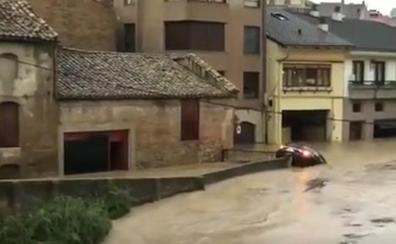 Importantes inundaciones en Tafalla por el desbordamiento del río Cidacos
