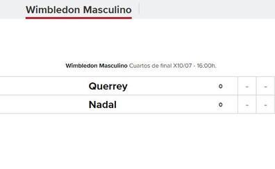 Querrey - Nadal: horario del partido de cuartos de final de Wimbledon 2019