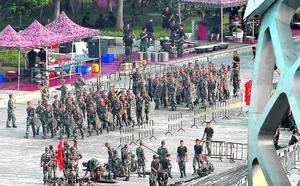 Juegos de guerra en China para asustar a Hong Kong