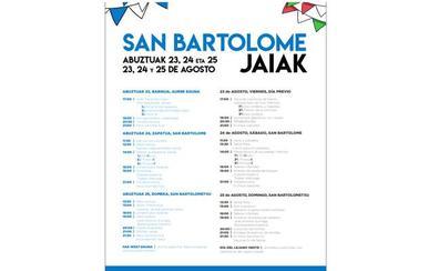 Programa de fiestas de Zamudio 2019: San Bartolome Jaiak