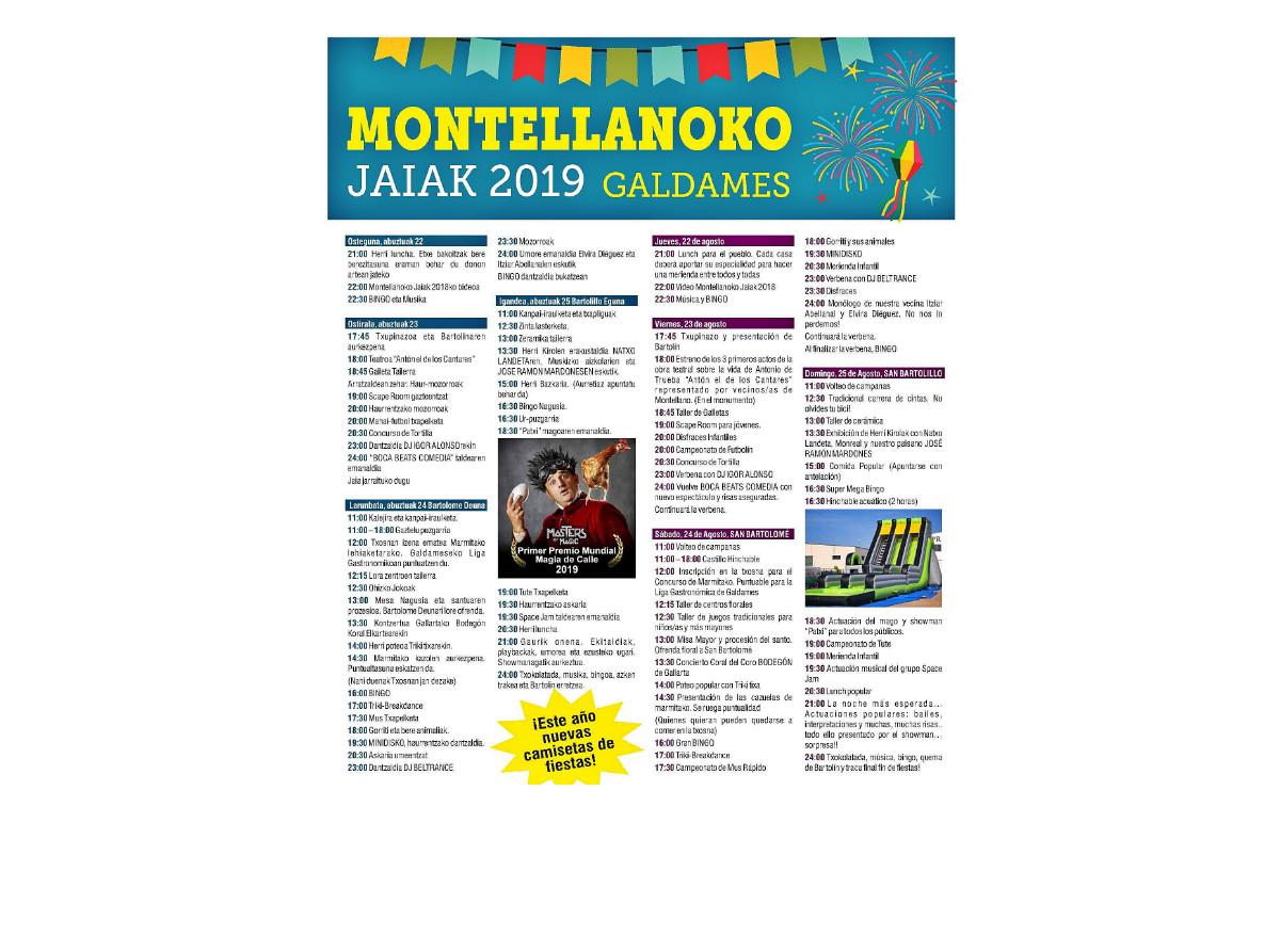 Programa de fiestas de Galdames 2019: Montellanoko Jaiak