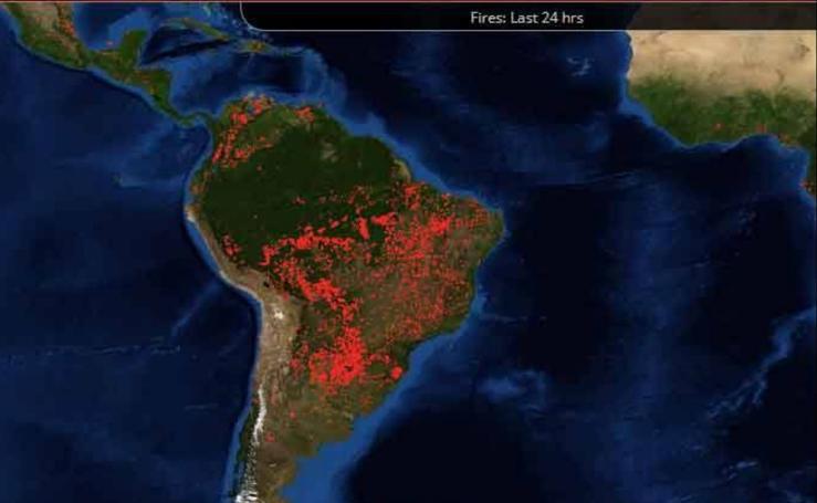 Las impresionantes imágenes que deja el incendio en el Amazonas