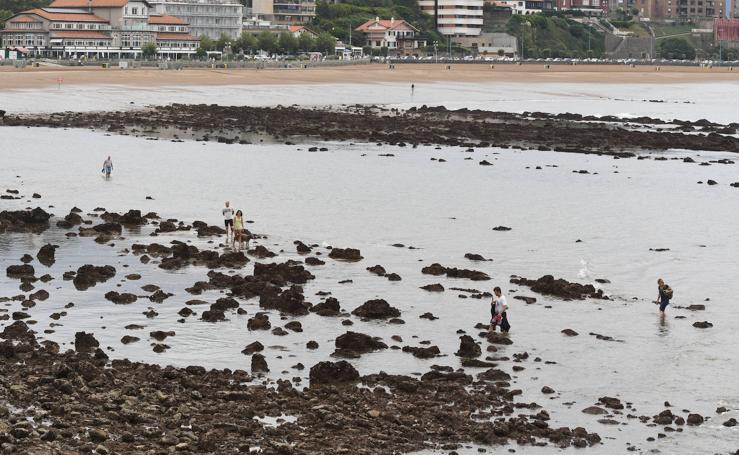 Las mareas vivas dejan al desnudo las playas de Bizkaia
