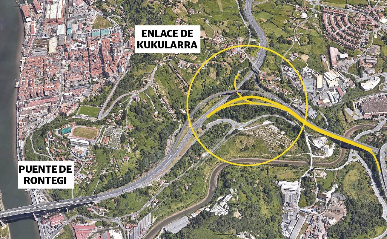 Tres nuevos carriles para evitar el colapso en el nudo de Rontegi y el Txorierri