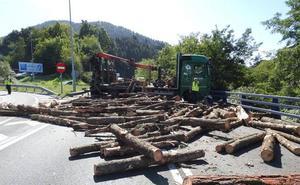 La pérdida de la carga de troncos de un camión corta cuatro horas la BI-625 en Arrigorriaga