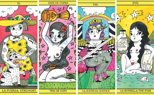 La vitoriana Amaia Arrazola ha ilustrado el nuevo tarot feminista./Naipes Heraclio Fournier