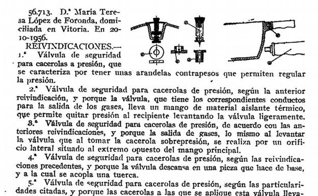 Solicitud de patente de María Teresa López de Foronda para las ollas Cumbre.