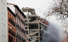 Imágenes de la explosión de un edificio en Madrid