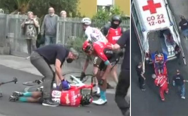 Landa abandona el Giro de Italia tras sufrir una grave caída en la quinta etapa