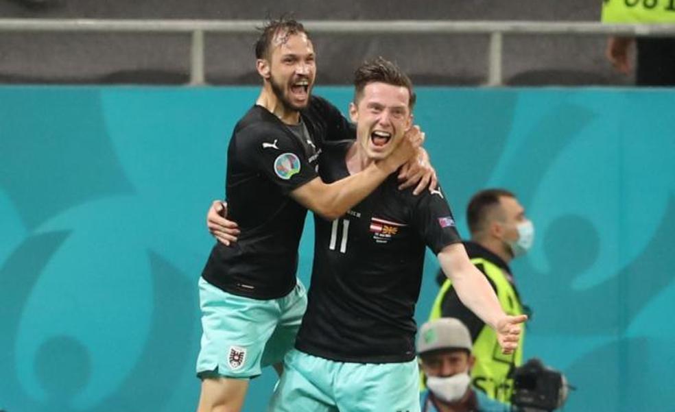 Austria por fin sonríe con dos genialidades de Sabitzer y Alaba