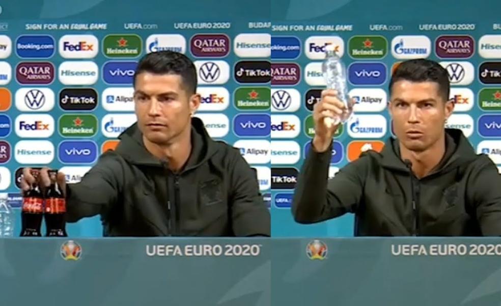 Cristiano Ronaldo siembra la polémica contra Coca-Cola: «Agua, Coca-Cola no»