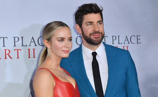 John Krasinski and his wife, actress Emily Blunt, at the premiere of 'A Quiet Place 2' in New York on March 8.