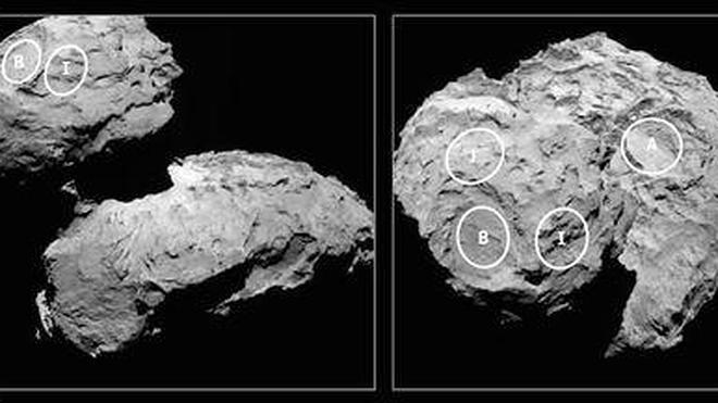 Elegidos cinco puntos de aterrizaje en el cometa que orbita Rosetta
